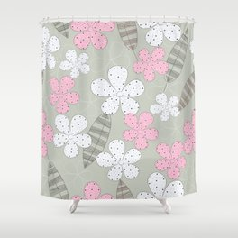 Floral Pattern, Flowers, Leaves, Dots - Pink Gray Shower Curtain