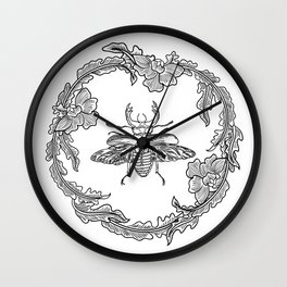 Flowers with beetle Wall Clock