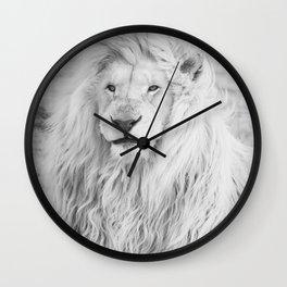 Albino Lion (Black and White) Wall Clock