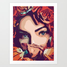Flower girl with amazing blue eyes in popart style Art Print