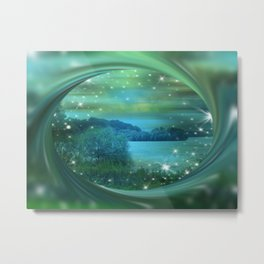 Starlit Lake. Metal Print