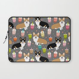 Corgi boba tea bubble tea kawaii food welsh corgis dog breed gifts Laptop Sleeve