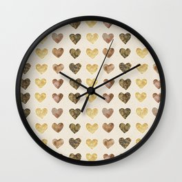 Gold and Chocolate Brown Hearts Wall Clock
