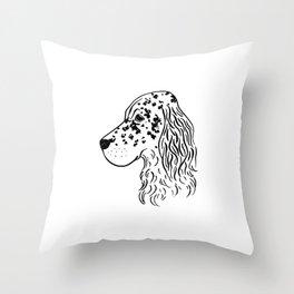 English Setter (Black and White) Throw Pillow