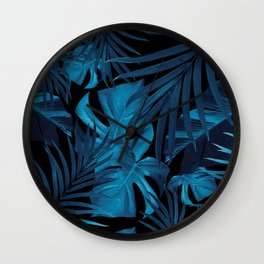 Tropical Jungle Night Leaves Pattern #2 #tropical #decor #art #society6 Wall Clock