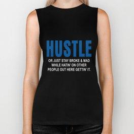 Mens Black Crew Neck HUSTLE hustle Biker Tank
