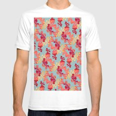 Floral Pattern Mens Fitted Tee White MEDIUM