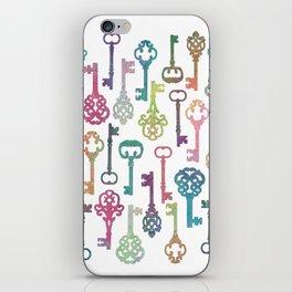 Rainbow Keys on White iPhone Skin