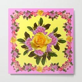 PINK ROSE GARDEN YELLOW  ROSES FLOWERS Art Metal Print