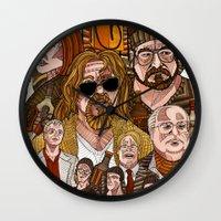 the big lebowski Wall Clocks featuring The Big Lebowski by David Amblard
