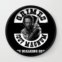 rick grimes Wall Clocks featuring Rick Grimes & .357 Magnum by SwanniePhotoArt