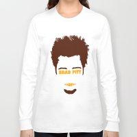 brad pitt Long Sleeve T-shirts featuring Brad Pitt Minimalist by Maxvtis