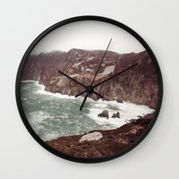league Wall Clocks featuring Slieve League in winter by Marie Carr