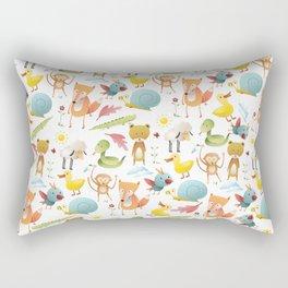 Cute pink teal yellow animal floral pattern Rectangular Pillow