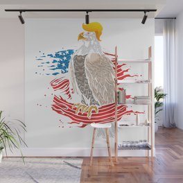Skull with iconic Trump Hair Eagle president Flag America Tees Wall Mural