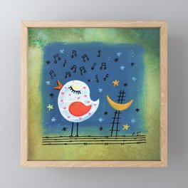 singing bird at night Framed Mini Art Print