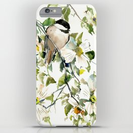 chickadee and dogwood, chickadee art design floral iPhone Case