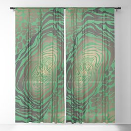 Trendy Golden and green zebra print  Sheer Curtain
