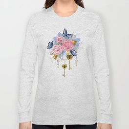 Pink Roses with Keys Long Sleeve T-shirt
