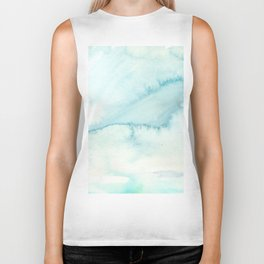 Abstract hand painted blue teal watercolor paint pattern Biker Tank