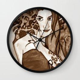 Hunter Behind The Mask - Sepia Wall Clock