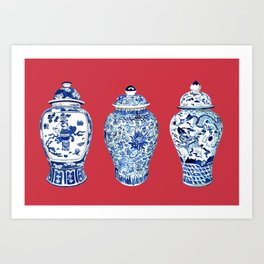 GINGER JAR TRIO ON RED Art Print