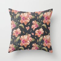 hibiscus Throw Pillows featuring Hibiscus by 83 Oranges™