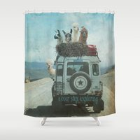 lama Shower Curtains featuring NEVER STOP EXPLORING II SUMMER EDITION by Monika Strigel