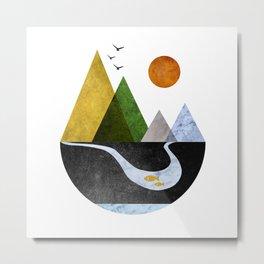 Scandinavian Mountains Abstract Geometric Landscape Metal Print
