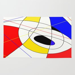 Incomplete Primary - Red, yellow, black, white, blue abstract artwork Rug