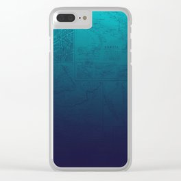 Blue Ombre Map Clear iPhone Case