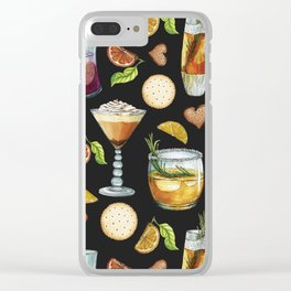 Cocktail and Biscuit Pattern Black Background Clear iPhone Case