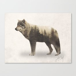 Wolf (Double Exposure Animal Portrait) Canvas Print