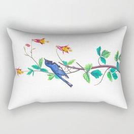 Blue Birds & Pastel Turquoise Leaves Rectangular Pillow