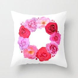 Rose wreath Throw Pillow