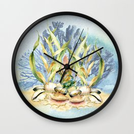Watercolor Under Sea Collection: Shells and Sea Grass Wall Clock