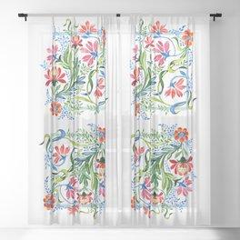 Watercolor Garden Folk Floral In Vintage Style Sheer Curtain