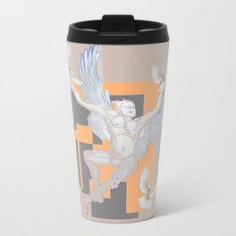 Abstract Angel With Birds Grey Art Travel Mug