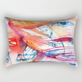 Abstract watercolor painting with faces Rectangular Pillow