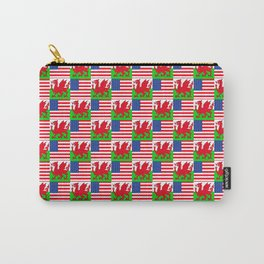 Mix of flag : USA and Wales Carry-All Pouch
