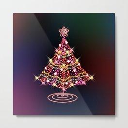 Glittering Christmas Tree Metal Print