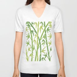 vector background with green bamboo stems Unisex V-Neck