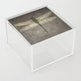 Dragonfly On Distressed Metallic Grey Background Acrylic Box