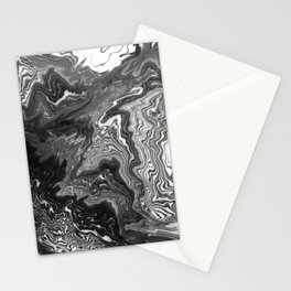 Izumi - spilled ink marble landscape abstract painting handmade art print texture black and white Stationery Cards