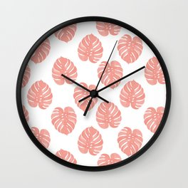 Monstera house plant minimal watercolor painting trendy gifts for anyone leaves tropical beach Wall Clock