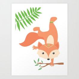Little Yogi Fox Art Print