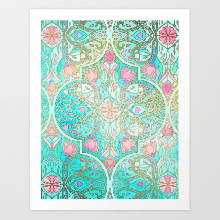 Floral Moroccan In Spring Pastels Aqua Pink Mint