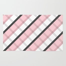Pink Gray White Square Abstract Stripes Geometic Pattern Rug