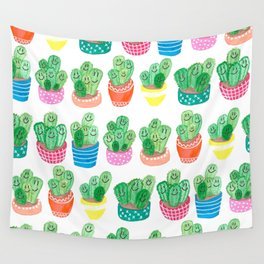 Cacti in fancy pots with smily faces. Wall Tapestry