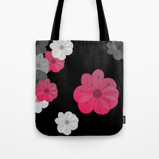 Pink and Black Flowers Design Tote Bag